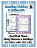 Reading, Writing & Arithmetic ~ Camel ~ One Work Sheet ~ Many Holidays