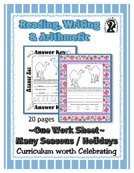 Reading, Writing & Arithmetic ~ Camel ~ One Work Sheet ~ M