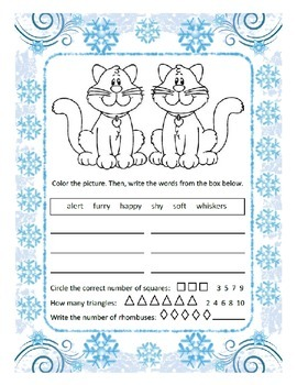 Reading, Writing & Arithmetic ~ Cat ~ One Work Sheet ~ Man