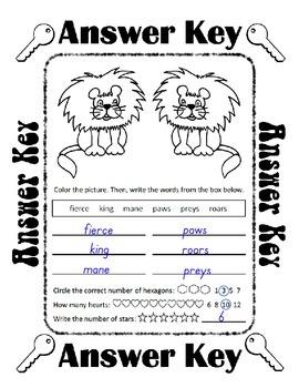 Reading, Writing & Arithmetic ~ Lion ~ One Work Sheet ~ Many Holidays