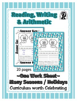 Reading, Writing & Arithmetic ~ Lion ~ One Work Sheet ~ Ma
