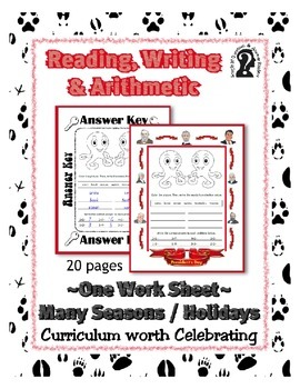 Reading, Writing & Arithmetic ~ Octopus ~ One Work Sheet ~ Many Holidays