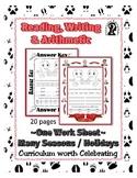 Reading, Writing & Arithmetic ~ Octopus ~ One Work Sheet ~ Many Holidays