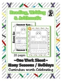 Reading, Writing & Arithmetic ~ Owl ~ One Work Sheet ~ Many Holidays