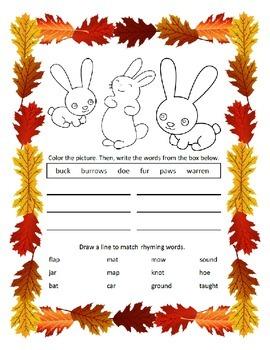 Reading & Writing ~ Rabbits ~ One Work Sheet ~ Many Seasons / Holidays