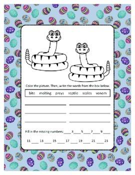 Reading, Writing & Arithmetic ~ Snakes ~ One Work Sheet ~ Many Holidays