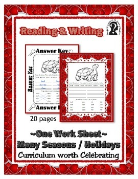 Reading & Writing ~ Turtle ~ One Work Sheet ~ Many Seasons / Holidays