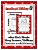 Reading & Writing ~ Turtle ~ One Work Sheet ~ Many Seasons / Holidays