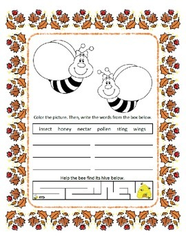 Reading & Writing ~ Bees ~ One Work Sheet ~ Many Seasons / Holidays