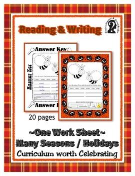 Reading & Writing ~ Bees ~ One Work Sheet ~ Many Seasons /