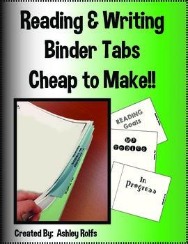 Reading & Writing Binder Tabs!