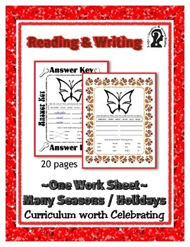 Reading & Writing ~ Butterfly ~ One Work Sheet ~ Many Seas