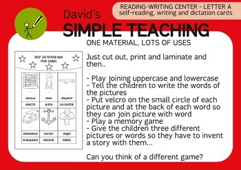 Free Reading-Writing Center letter A - Self-reading-writing and dictation cards