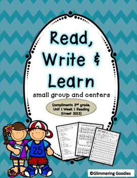 Reading, Writing, Centers and Small Group Instruction  Unit 1 Week 1