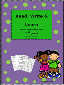 Reading, Writing, Centers and Small Group Instruction Unit 4 Week 1