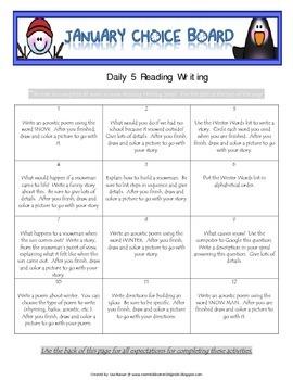 Reading Writing Choice Board for January