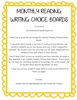 Reading Writing Choice Board for May