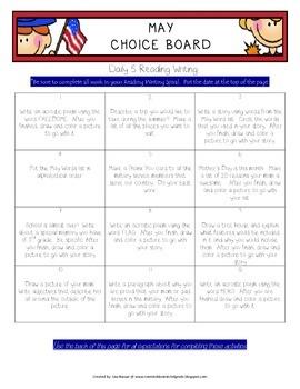 Reading Writing Choice Board for May