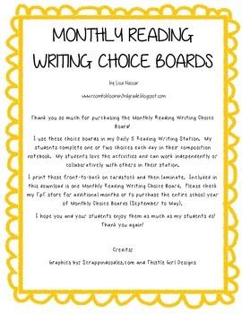 Reading Writing Choice Board for November