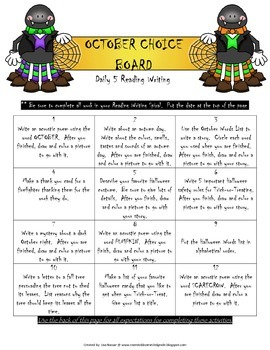 Reading Writing Choice Board for October
