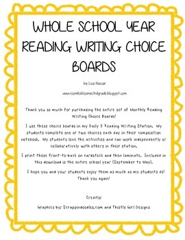 Reading Writing Choice Board for Whole School Year (September to May)