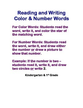 Reading & Writing Color and Number Words
