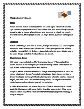 Common Core and MLK:  Bloom's Questioning Samples