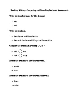 Reading, Writing, Comparing and Rounding Decimals Printables 5.NBT.3 and 5.NBT.4