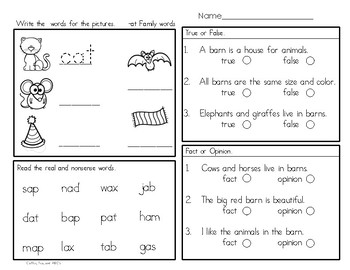 Reading, Writing, Comprehension Mini - Unit  The Farm