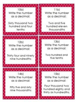 Reading & Writing Decimals: 30 Task Cards