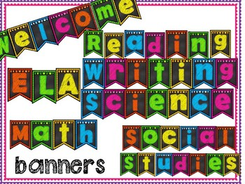 Subject Chalkboard Brights Banners