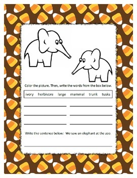 Reading & Writing ~ Elephant ~ One Work Sheet ~ Many Seasons / Holidays