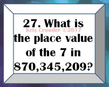 Reading, Writing, & Identifying Place & Value up to Hundred Millions Task Cards