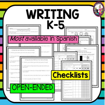 Reading & Writing Inventories! K-5! Bundle! Spanish Versions Included too!