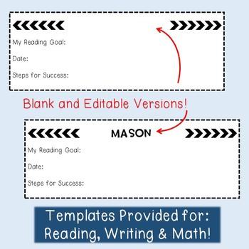 Reading, Writing & Math Goal Setting Bookmarks & Data Tracking - EDITABLE