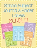 Reading, Writing, Math, Science & Social Studies Journal & Folder Labels Bundle