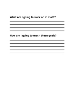 Reading / Writing/Math goal sheets