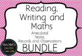 Reading Writing Maths - Assessment Notes Editable - BUNDLE