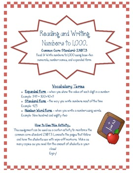 Reading & Writing Numbers to 1,000: A wipe-off activity for centers