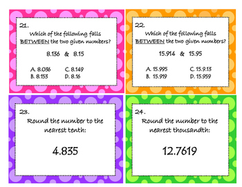 Reading, Writing, Ordering, Comparing and Rounding Decimal Task Cards