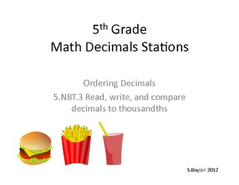 Reading, Writing, Ordering Decimals Math Station