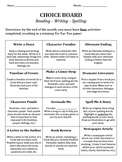 Reading - Writing - Spelling Choice Board