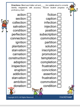 Reading, Writing, & Spelling Words That End in _____tion.