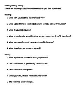 Reading Writing Survey