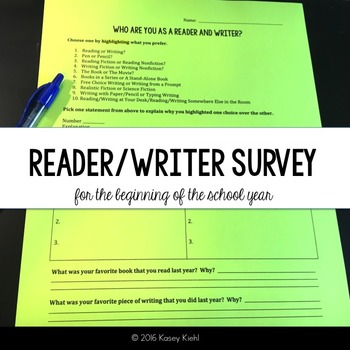 Reading & Writing Survey for Beginning of the School Year