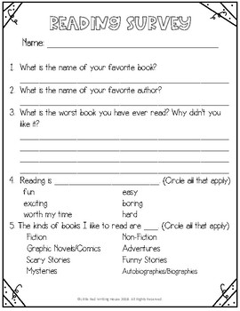 Reading & Writing Surveys FREEBIE