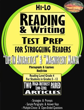 "2 Articles Paired ""The Life in Antaractica""~Reading & Writing Test Prep"