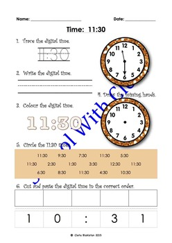 BUNDLE: Reading & Writing Time In Words - Half Past (Analo