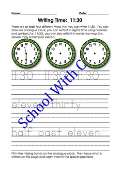 BUNDLE: Reading & Writing Time In Words - Half Past (Analogue, Digital & Words)