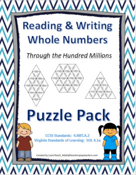 Reading & Writing Whole Numbers Through the Hundred Millions Puzzle Pack